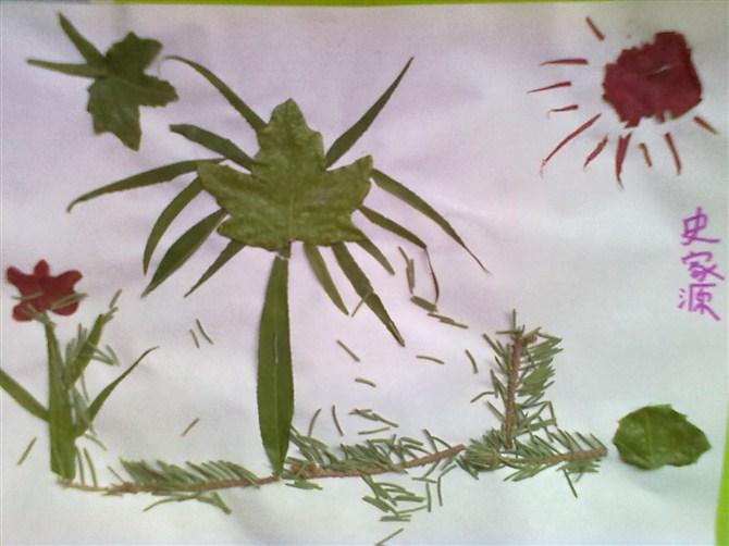 和爸爸妈妈一起去迎宾湖玩耍收集各种树叶,制作了美丽的树叶拼贴画,各